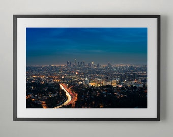 101 Freeway, Hollywood and Downtown Los Angeles, Fine Art Photography, Instant Download, Home decor, Office Wall Art, Fine Art Photograph