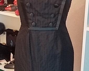 Vintage, 1960's, Oleg Cassini, Black, Silk, Sleeveless, Dress