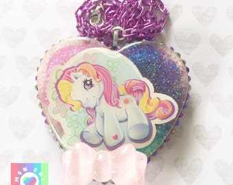 Purple Pony Resin Pendant Necklace