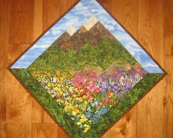 Summer Wildflower Fabric Wall Hanging, Landscape, Tapestry Fabric Art, Mountain Art, Quilted Wall Hanging Lake Tahoe Home Office Decor