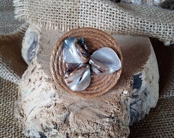 Natural large ring of mother of pearl and flax eco-jewelry vegan jewelry Organic Eco friendly organic jewelry, eco-friendly