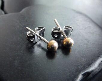 Solid 14 Karat Gold Stud Earrings - Rose Gold Earrings - Minimalist Earrings - Tiny Earrings - Yellow Gold Post Earrings - Everyday Jewelry