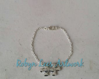 Small Silver You Are My Missing Piece Jugsaw Puzzle Piece Bracelet on Silver Crossed Chain