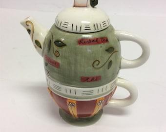Ceramic Tea Set for One Unused Vintage