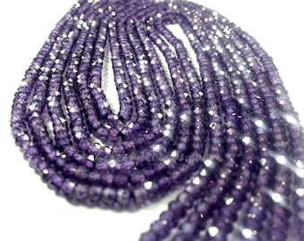3mm Dark Amethyst CZ Cubic Zirconia Micro Faceted, 13 inch