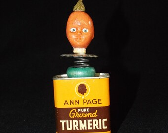 OOAK Mixed Media Assemblage Art Doll - Orange Turmeric