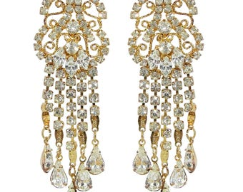 HQM Austrian Chandelier Clear Crystal Earrings (Clip-on)