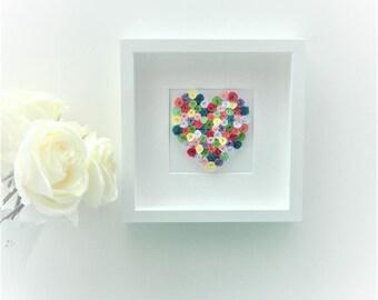 Quilled Paper Heart / Framed Art