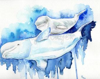 Mama and Baby beluga whale, whale nursery, whale art, beluga whale watercolor painting, aquatic painting, beluga whale painting, beach art