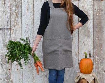 Natural Linen Apron / Pinafore apron / Japanese apron / Crossback apron / Stonewashed  linen / Kitchen apron / Criss Cross / Pinafore dress