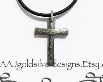 Sterling Silver Cross - Rustic Hammer textured - Flared Ends - Artisan Cross - Leather Cord