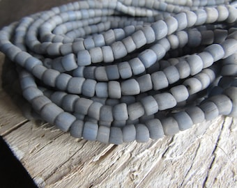 grey blue glass seed beads,  opaque seed beads, small rustic ethnic tube barrel spacer , New Indo-pacific 3 to 6mm ( 22 inch strd) 7ab29-28