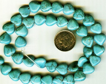 NEW 10mm Beautiful Blue Green Magnesite Turquoise Puffed Heart Beads 6 pieces