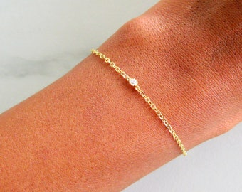Delicate Solitaire Bracelet, Dainty Diamond Bracelet, Gold, Rose Gold Bracelet, Gemstone Bracelet, Bridesmaid Gift, Wedding Jewelry, Bridal