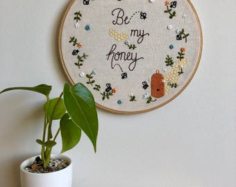 Be My Honey Embroidered Wall Artwork