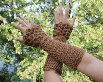 CROCHET PATTERN: Dragon Gloves Crocodile Stitch Wristwarmers