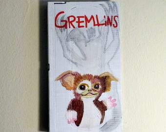 Gremlins movie painting - art on recycled Vhs Tape, gizmo wall art, childerns room decor, 80's movie lovers gift, mogwai art, Fantasy