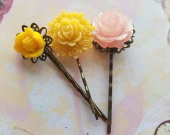 "3 Set Brass Bobby pins. ""Spring Has Arrived."""