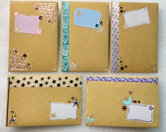 5 unique Miniature Envelopes for ATC / ACEO / Kakaokarten Gift Cards Handmade