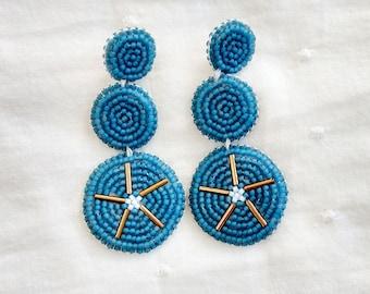 Iolite Blue Statement Earrings, bold, beads, beadword, sterling silver