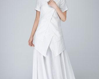 White linen dress, linen dress, chiffon dress, maxi dress, womens dresses, swing dress, short sleeves dress, summer dress, party dress 1544