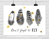 fine-art print FLY poster illustration quote feather bird fly vintage