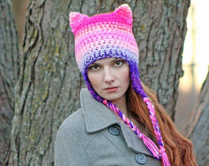 Pink and Purple Ombre Mix Pussy Cat Kitten Hat Hot Pink Fox Ear EarFlap Hat Support Women's March on Washington. Political Liberal Politics
