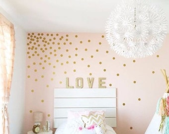 Peel and Stick Metallic Gold Polka Dot Wall Decals   baby room decal   Long Life   Apartment Safe