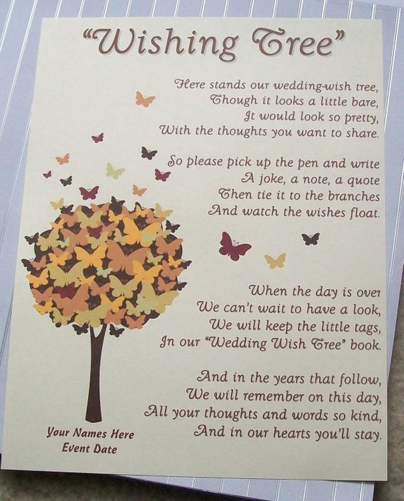 Items similar to Wishing Tree Tags - Instructions Sign - Butterfly ...
