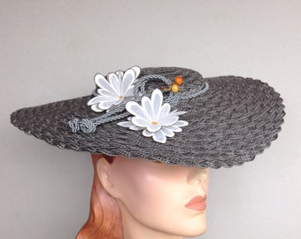 Straw Braid Saucer Hat, Derby Hat, Grey Platinum Wide Brim Summer Boater Sun Hat
