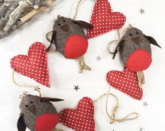 Christmas Garland - Christmas Bunting - Robin - Nordic Christmas - Christmas Decorations - Christmas Robin - Scandi Christmas