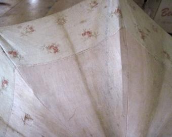Antique cloth Parasol umbrella with wooden handle need of TLC