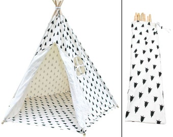 NEW Premium 5 Pole Black & White Forrest Pattern Pentagon Teepee Tent With Storage Bag