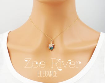 Personalized turtle choker necklace. Gold and rainbow coloured turtle choker necklace. Dainty turtle choker necklace.