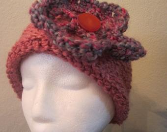 Fuscia Crochet Hat With Flower