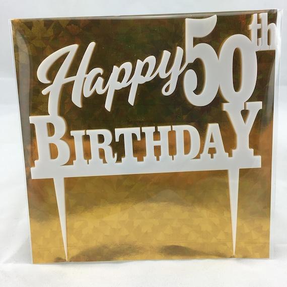 Happy 50th Birthday, black acrylic, white acrylic, plywood, Birthday Cake Topper, Happy Birthday, Laser Cut, FREE shipping Australia wide.