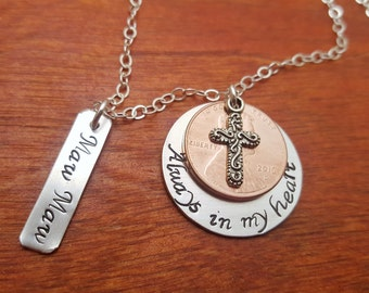 Memorial-Remembrance-sterling silver-penny necklace-Hand stamped-personalized-Always in my heart-Remembrance necklace-Memorial necklace