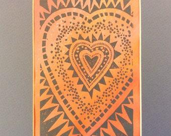 linocut - HEART // 8x10 art print // gray & pink // printmaking // block print // love art // original art // 4x6 // wall art