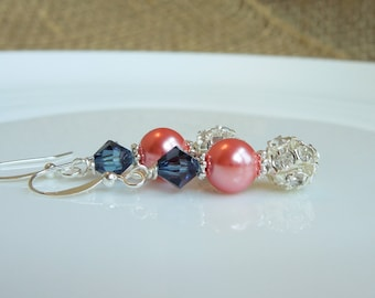 Navy Blue and Coral Earrings Pearls, Rhinestones and Crystal - Dark Midnight Blue and Coral Wedding - Sterling Silver Option
