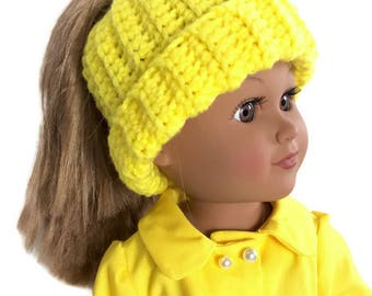 18 Inch Doll Yellow Bun Beanie, Messy Bun Hat, Ponytail Beanie, Crocheted Doll Hat, 18 Inch Doll Clothes, Winter Doll Clothes