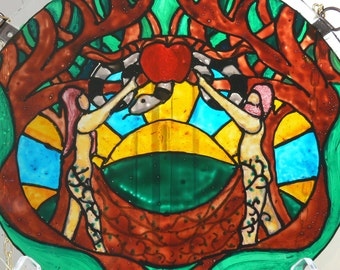"""The Garden Of Eden - Adam and Eve Large 9 1/2"""" Glass Suncatcher - Hand Painted - One Of A Kind"""