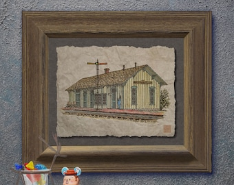 Nostalgic small town train depot art Whimsical yesteryear print adds railroad station art to train wall decor as 8x10 or 13x19 cute train