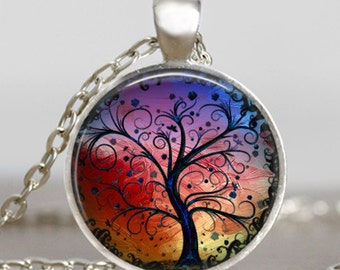 Tree of life silver plated necklace ,Tree of life jewelry ,art charm, tree of life pendant ,handmade jewelry,friend family gift idea