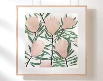 Large Protea Lino Block Print / Handpressed Limited Edition / Native Plant Wall Art