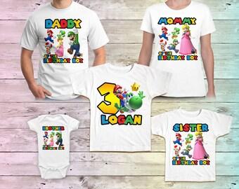 Mario Birthday Shirt, Super Mario Family Birthday Tshirt, Mario Shirts, Mario Mommy Birthday Party, Mario Daddy Birthday Shirt