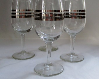 Set of 4 Vintage Silver Striped 6oz Wine Glasses ~ Unique Triple Band Design