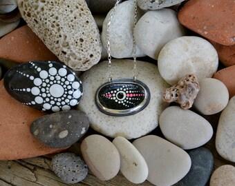 Black Pebble Pendant, Painted Stone Necklace in Sterling Silver, Mandala Art, Handmade Necklace, Beach Pebble, Mediterranean Sea Pebble