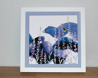 Stormy Heather and Bee 23cm Watercolour Print | Signed Glicee Print|23cm x 23 cm Square|by Hannah Knapton|Pink, Purple and White