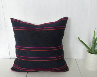 Thailand Hmong Pillow Cover / Indigo Hemp Orange Pink Embroidery Decorative Throw Cushion Organic Ethnic Textile Hand Spun Loom Boho Decor
