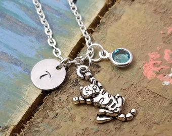 Cat Necklace, Kitty Necklace. Cat Lover Gift, Cat Jewelry, Silver Cat Necklace, Kitty Jewelry, Cat Charm Necklace, Animal Lover, Cat Rescue